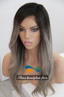 Cheap Premium Silk Top Glueless Full Lace Grey Human Hair Wigs Two Tone 1B Grey 130-150% Density Brazilian Virgin Hair Ombre Grey Lace Front Wigs