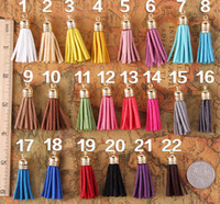 Wholesale Mix Color Suede Tassel For Keychain Cellphone Straps Jewelry Charms Leather Handmade Tassel With Metal Caps Diy Accessories J864