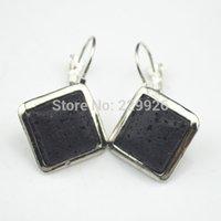 Mini-roches Avis-(Mini commander 10 $) E1024-10 Lava Rock Volcano Earring Stone 1 Paire look vintage antique d'oreilles en argent plaqué