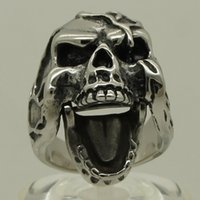 asian cover - tree branch covered open movable mouth skull stainless steel ring size g