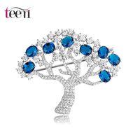 apple tree plants - Teemi Jewelry Full Cubic Zircon Prong Setting Apple Tree Brooches Pin For Women Luxury Bridal Wedding Dress Accessories Plant CZ Pins