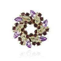 Wholesale Stylish Women Lady Crystal Circle Flower Interspersion Breastpin Wedding Brooch Pins Best Gift