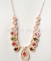 Wholesale Necklace Tourmaline necklace Natural real tourmaline sterling silver plated k white gold Perfect jewelry DH