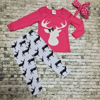 new design pants - new hot design hot pink reindeer top Christmas X mas suit kids baby reindeer print pants boutique girls clothes sets