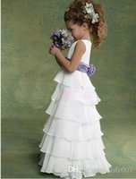 layer cake - Cheapest Flower Girls Dresses Baby princess skirt Chiffon Kids Evening Gowns Many Layers Floor length White and Purple Cake skirt HT2