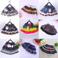 Wholesale 20 design Cotton denim bubble Pettiskirt Girl tutu skirts Pleated Skirt Pettiskirts Baby Tutu Skirts Size T T For T