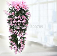 hanging flower basket - 2pcs Artificial Silk quot Lily Bracketplant Flower Vine Ivy Wall Hanging Basket Flowers Garland Plant Wedding Home Decoration