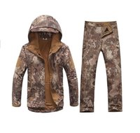 Wholesale Tad v Shark skin soft shell lurkers outdoors tactical military fleece jacket uniform pants suits Camouflage hunting clothes
