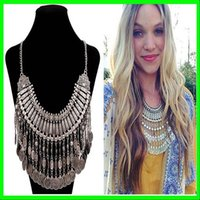 chunky jewelry - Silver Plated Chunky Tribal Ethic Turky Boho Necklace Bohemian Coin Tassel Collar Necklace Brazil Hot Selling Jewelry