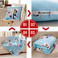 Wholesale Colorful Multifunctional x195cmQuilts Folding As pillow x50cmCushion Blanket For Car Sofa Chair Home Textile