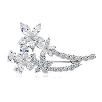 Wholesale BBridesmaid Jewelry Bouquet Bridal wedding Rhinestone Crystal Large Flower Brooch Pin Costume Jewelry for Women Gift