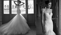 Cheap 2014 Berta Bridal Designer Charming Mermaid Organza Sequin Bodice Wedding Dresses Bridal Gowns Dress 2014 Layers Ruffles Beading Sexy Cheap