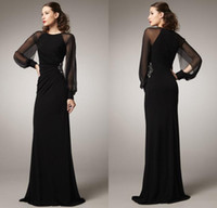 arab specials - 2015 Middle East dubai Arab Evening Dresses Sheath Jewel Sheer Long Sleeve Black Women Vintage Evening Gowns For Special Occasion