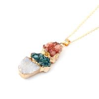 druzy jewelry - 2015 New Design k Gold Plated Colorful Druzy Quartz Stone Necklaces Jewelry for Women SN008
