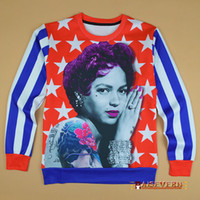 american apparel pictures - Raisevern produced American flag printed sweatshirt sexy pinup girl picture hoodies apparel college women men casual pullovers FG1510