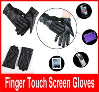 Wholesale Cool Black Leather Winter Outdoor Cycling Motorcycle Men Full Finger Touch Screen Warm Gloves For Iphone Ipad Mobile