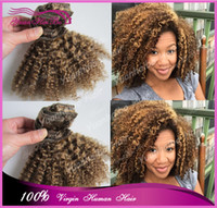 Wholesale Grade7A light brown human hair virgin brazilian afro kinky curly clip in hair extensions for african americans