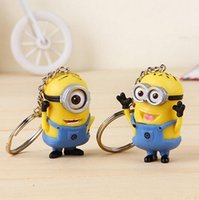 rubber keychain - Despicable Me Minion Toy Rubber KeyChain D Eyes keyring With Retail Packaging For Christmas Gift Toy set