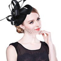 Wholesale Many Colors Decorative Feather Satin Fascinator Hair Clip Cocktail Hat for Wedding Party Decoration