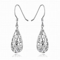 autumn earrings - Autumn Winter Banquet Party Young Girl Fashion Tear Drop Shape Setting Hollow Out Silver Earrings SK160