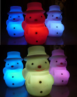 Wholesale 50pcs Colorful Snowman Nightlight Supply High quality Colorful Night Light Christmas Toys For Children Christmas snowman Children s gift DHL