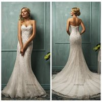 Cheap 2015 White Lace Mermaid Wedding Dresses Strapless Sweetheart Sleevless Backless Sweep Train Crystal Button Wedding Gown Amelia Sposa Cloe