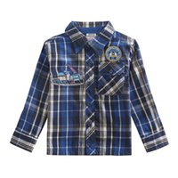 100% cotton shirt fabric - Boys long sleeve plaid shirts nova children winter clothing embroidery cotton fabric blue baby check shirt t shirt in stock A5071