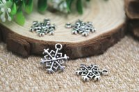beautiful snowflakes - 25pcs Snowflake Charms Antique Tibetan Silver Beautiful Design Sided Snowflake Charm pendants x18mm
