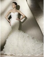 Wholesale 2105HotZipper Mermaid Wedding Dresses And Sweep Train Wedding Dresses Of sweetheart Hot Lace Wedding shipping