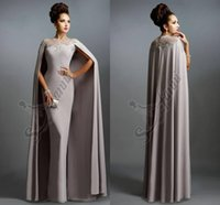 elie saab - Sexy Formal Celebrity Dresses Elie Saab Cape Evening Gowns Grey Pleated with Ruffles Lace edged Neckline Cheap Sheer Prom Dresses