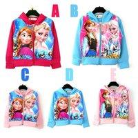 Wholesale Frozen Girls Long Sleeve coat Snow Romance Hoodies Zipper jacket Pure cotton blouse Elsa Anna Children Sweater Children s Hoodies Sport