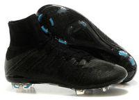 real football boots - New Arrival Men Soccer Cleats Real Carton Fiber Mercurial Superfly FG Ronaldo CR7 Black Soccer Shoes Football Boots High Cut