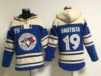 Wholesale Blue Jays Sweater Blue Toronto Jose Bautista Lace Up Pullover Hooded Sweatshirt Cheap Winter Baseball Wear High Quality Baseball Jackets