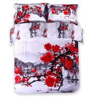bed-in-a-bag king size - Factory Direct Sale Cotton High Quality D Red Plum Blossom Bedding Set Bed In a Bag Queen King Size Quilt Cover Sheets Pillowcase