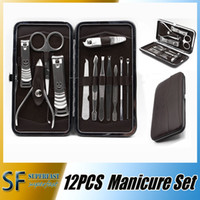 Wholesale 12pcs Nail care Tools Leather Case for Personal Manicure Pedicure Set Travel Grooming Kit Tools With Retail package DHL