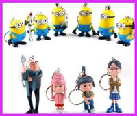 big eye keychain - nime Cartoon Despicable Me Figures D Eye Minions ring key keychain PVC Action Figure Toys Dolls doll Ornament Christmas Gift