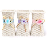 Wholesale Artificial Rattan Square Flower Vase Roses Fruits Candy Storage Basket Garden Wedding Party Decoration Gift