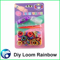 Cheap Diy Knitting Braided Loom Watch Rainbow Kit Rubber Loom Bands Self-Made Silicone Bracelet