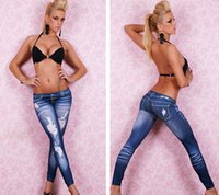 Wholesale 8805 New Fashion Womens yellow line ripped Leggings Seamless Imitation Jeans Nine minutes of pants