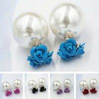 stud earring lot - 30 Pairs New Fashion Women Stud Earrings High grade Alloy Rose Pearl Jewelry Qualities Elegant Creative Double sided Earrings