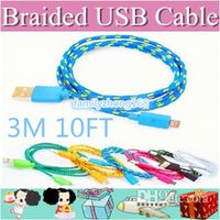 Wholesale DHL300 M FT Extra Long Extension USB Fiber Braided Charger Cable Sync Data Fabric Knit Nylon Chargring Cord Lead For Cellphone Smartphone
