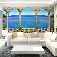 Wholesale Custom Mural Wallpaper D Stereoscopic Large Mural Living Room Sofa Backdrop Mural Wallpaper Seamless Windows Sea View Landscape