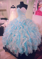 Sweetheart ballgown prom dresses - Blue Ballgown Prom Dress Ruffled Quinceanera Dresses Beaded Sweetheart Neck Puffy Dresses