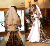 Wholesale Cheap Camo Wedding Veil Elbow Length Custom Made Tulle Appliqued Two Layers White Bridal Veil