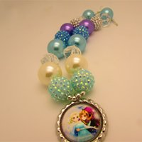 Wholesale New Style Frozen Elsa And Anna Sisters Chunky Bubblegum Lovely Beads Necklace Pendant For Kids