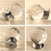 glass drawer pulls - Round Diamond Clear Crystal Glass Door Pull Drawer Knob Handle Cabinet Furniture A3