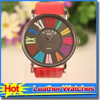 big colorful watches - New Arrival Best Mens Watches Fashion Colorful Big Dial Leather Straps Watch Casual Crystal Quartz Wristwatches For Men