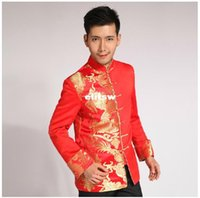 Wholesale 2014 traditional Chinese reformed Cheongsam qipao dress groom tuxedos longfeng toast clothing red wedding dress tang suit Man