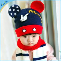 baby hat and scarf - 2016 Winter Season New Styles Colorful Mickey Mouse Baby Crochet Boys and Girls Hat and Scarf Set Infant Cap pc MZ21024