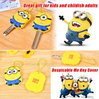 Wholesale Despicable Me Minion Rubber Silicone Stitch Key Cover Chain Cap Keyring Cute Cartoon Minion Lilo Stitch Keychain Kids Gifts